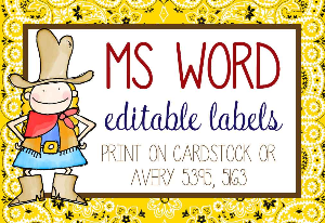 western - labels / editable / avery 5395