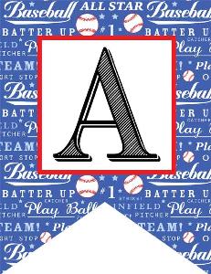 baseball - alphabet flags / monogram baseball background
