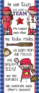 baseball - banner large / in our class / blue