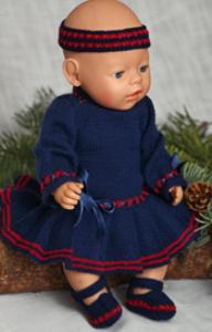 DollKnittingPatterns - 0121D ANNINE - Julekjole, Truse, Hårbånd og Sko (Norsk) | Crafting | Knitting | Baby and Child
