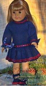 dollknittingpatterns - 0121d annine - dress, pants, hairband and shoes (english)
