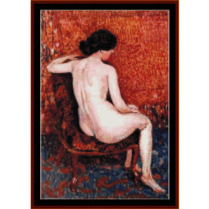 Sitting Nude on Chair - Lemmen cross stitch pattern by Cross Stitch Collectibles | Crafting | Cross-Stitch | Wall Hangings
