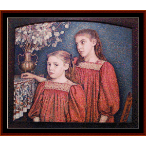 Two Sisters, 1894 - Lemmen cross stitch pattern by Cross Stitch Collectibles | Crafting | Cross-Stitch | Wall Hangings