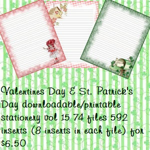 valentine's & st. patrick's day homemade downloadable printable stationery vol 15