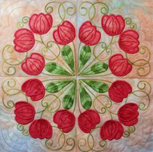 Tulips Filigree Machine Embroidery 5x5 - JEF | Crafting | Embroidery