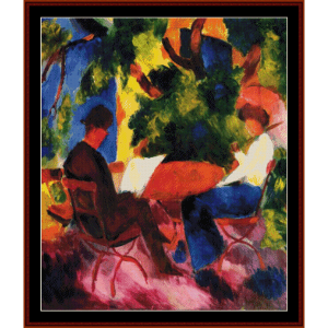 at the garden table - macke cross stitch pattern by cross stitch collectibles
