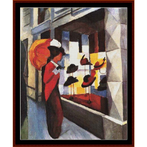 The Hat Shop, 1913 - Macke cross stitch pattern by Cross Stitch Collectibles | Crafting | Cross-Stitch | Wall Hangings