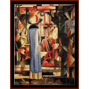 Woman at Illuminated Window - Macke cross stitch pattern by Cross Stitch Collectibles | Crafting | Cross-Stitch | Wall Hangings