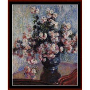 Chrysanthemums, 1881 - Monet cross stitch pattern by Cross Stitch Collectibles | Crafting | Cross-Stitch | Wall Hangings