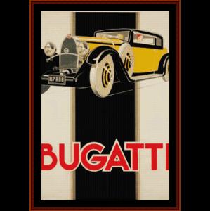 Bugatti - Vintage poster cross stitch pattern by Cross Stitch Collectibles | Crafting | Cross-Stitch | Wall Hangings