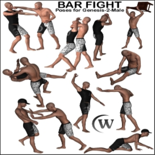 First Additional product image for - BAR FIGHT Poses for Genesis 2 Male(s)
