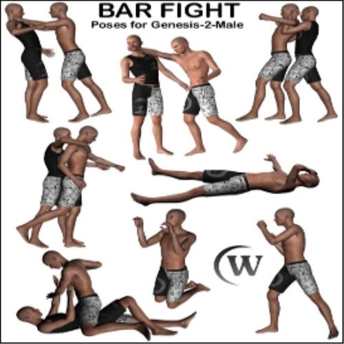 Second Additional product image for - BAR FIGHT Poses for Genesis 2 Male(s)