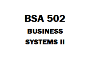 BSA 502 Business Systems II | eBooks | Education