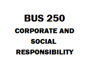 BUS 250 Corporate and Social Responsibility | eBooks | Education