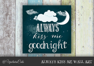 nursery blackboard calligraphy wall art - moon and stars