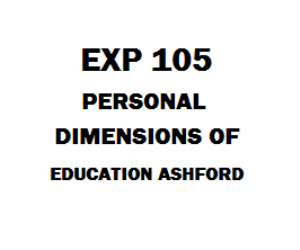 EXP 105 Personal Dimensions of Education Ashford | eBooks | Education
