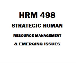 HRM 498 Strategic Human Resource Management and Emerging Issues | eBooks | Education