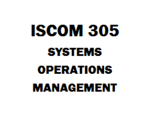 ISCOM 305 Systems Operations Management | eBooks | Education