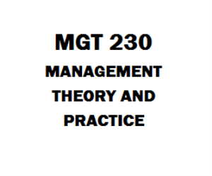 MGT 230 Management Theory and Practice | eBooks | Education