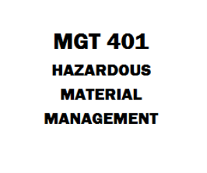 MGT 401 Hazardous Materials Management Ashford | eBooks | Education