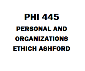PHI 445 Personal and Organizational Ethics Week 1 to 5 | eBooks | Education