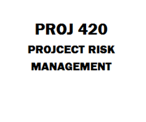 PROJ 420 Project Risk Management Week 1 to 7 | eBooks | Education