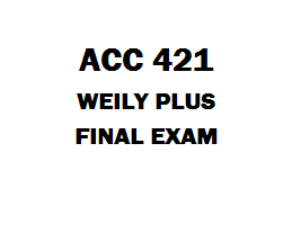 ACC 421 Final Exam Wileyplus | eBooks | Education