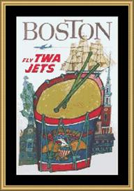 Boston Vintage Travel | Crafting | Cross-Stitch | Wall Hangings
