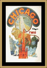 Chicago Vintage Travel | Crafting | Cross-Stitch | Wall Hangings
