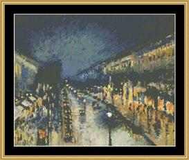 Montmartre Night - Pissarro | Crafting | Cross-Stitch | Wall Hangings