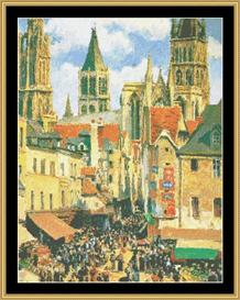The Old Market At Rouen - Pissarro | Crafting | Cross-Stitch | Other