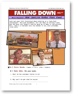Falling Down, HOW (NOT) TO ORDER FAST FOOD, Short-Sequence English (ESL) Lesson | eBooks | Education
