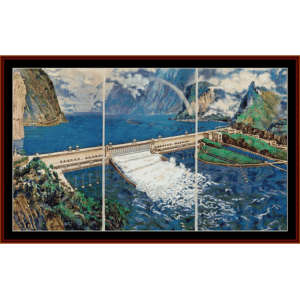 Three Gorges Dam - Asian art cross stitch pattern by Cross Stitch Collectibles | Crafting | Cross-Stitch | Other