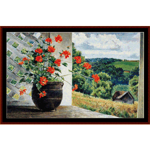 potted - americana ltd. ed. cross stitch pattern by cross stitch collectibles