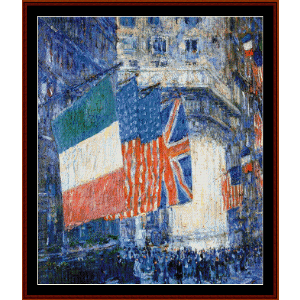 Flags on the Waldorf I - Childe-Hassam cross stitch pattern by Cross Stitch Collectibles | Crafting | Cross-Stitch | Other