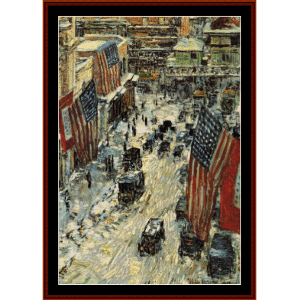 Flags on 57th St., Winter - Childe-Hassam cross stitch pattern by Cross Stitch Collectibles | Crafting | Cross-Stitch | Other