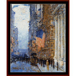 Flags on the Waldorf II - Childe-Hassam cross stitch pattern by Cross Stitch Collectibles | Crafting | Cross-Stitch | Wall Hangings