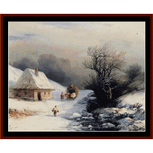 Little Russian Oxcart in Winter - Aivazovsky cross stitch pattern by Cross Stitch Collectibles | Crafting | Cross-Stitch | Wall Hangings