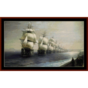 Parade of the Black Sea Fleet - Aivazovsky cross stitch pattern by Cross Stitch Collectibles | Crafting | Cross-Stitch | Wall Hangings