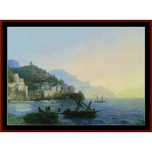 View of Amalfi - Aivazovsky cross stitch pattern by Cross Stitch Collectibles | Crafting | Cross-Stitch | Wall Hangings