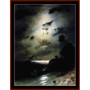 moonlit seascape wth shipwreck - aivazovsky cross stitch pattern by cross stitch collectibles