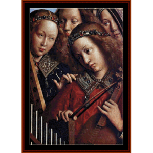 angels playing music, detail - van eyk cross stitch pattern by cross stitch collectibles