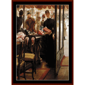 the shop girl - tissot cross stitch pattern by cross stitch collectibles