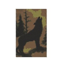 Brick Stitch Howling Wolf Delica Seed Beading Panel Pattern | Other Files | Arts and Crafts