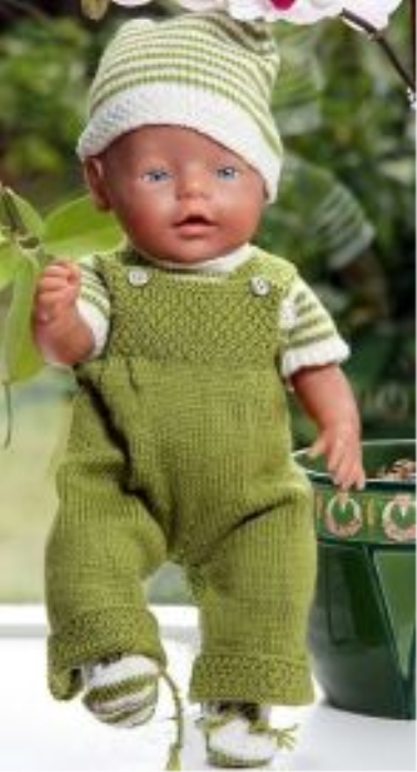 First Additional product image for - DollKnittingPattern 0009D JOANNE og JOHN - Overall, Genser i striper, Utejakke med hette, Lue og Strømpe-(Norsk)