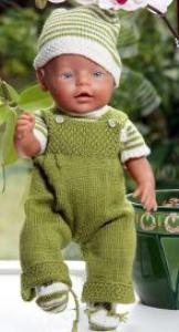 DollKnittingPattern 0009D JOANNE og JOHN - Overall, Genser i striper, Utejakke med hette, Lue og Strømpe-(Norsk) | Crafting | Knitting | Other