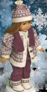 dollknittingpattern 0124d june - sweater, dress, pants, hairband and shoes -(english)