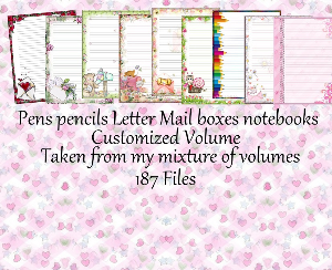 "Printable Stationery Designs: Custom Stationery Selection Volume ""Pens, Letters Mail boxes & notebooks"" 