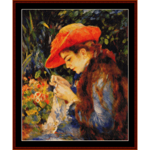 Marie Therese Sewing - Renoir cross stitch pattern by Cross Stitch Collectibles | Crafting | Cross-Stitch | Wall Hangings