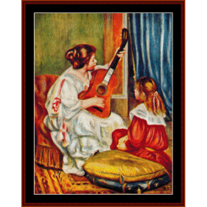 Woman with a Guitar, 1897 - Renoir cross stitch pattern by Cross Stitch Collectibles | Crafting | Cross-Stitch | Wall Hangings